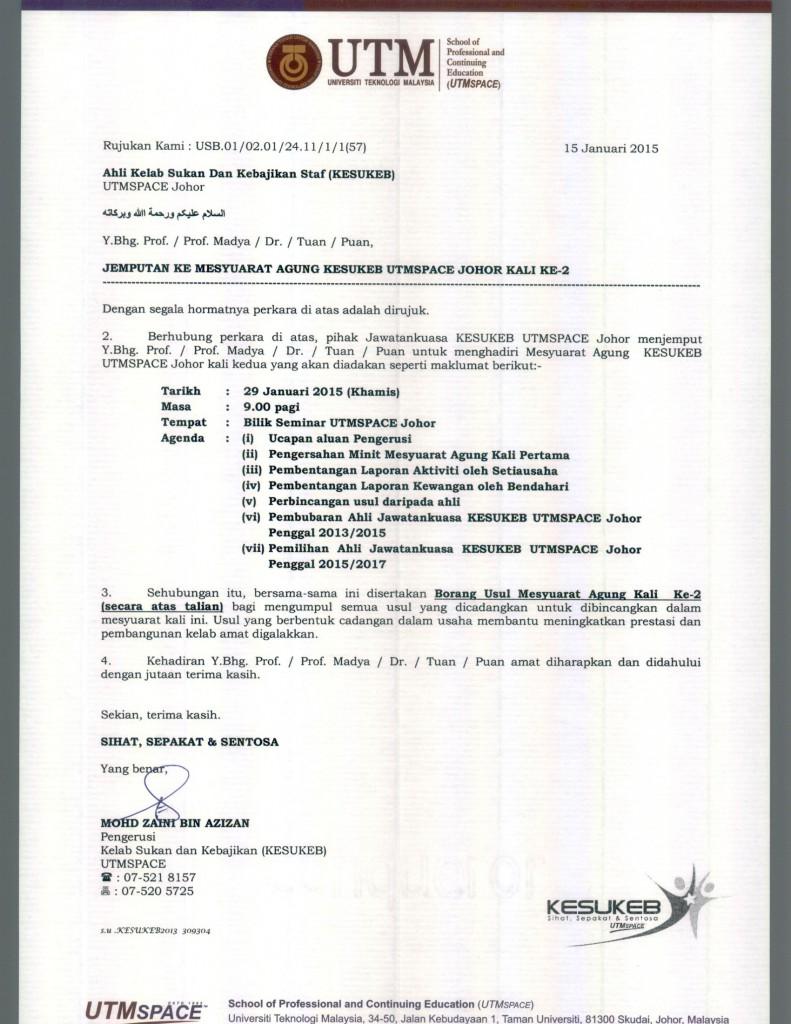 Jemputan Mesyuarat Agung KESUKEB UTMSPACE Johor Kali Ke-2